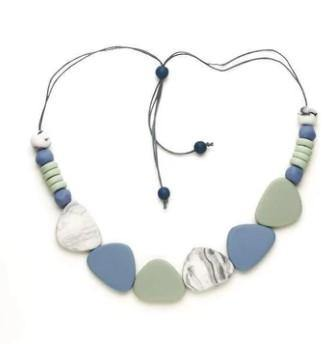 Blue Mix Resin Pebble & Disc Necklace