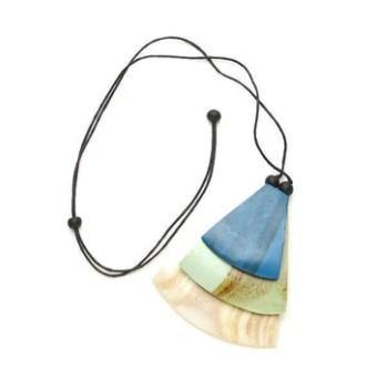 Blue Overlapping Fan Pendant Necklace