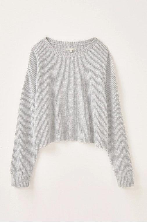 Z Supply Celine Waffle Long Sleeve top - heather grey