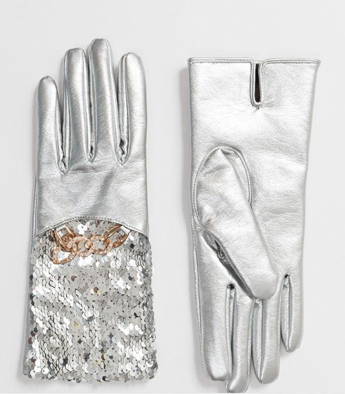 Metallic silver gloves with sequins and chain