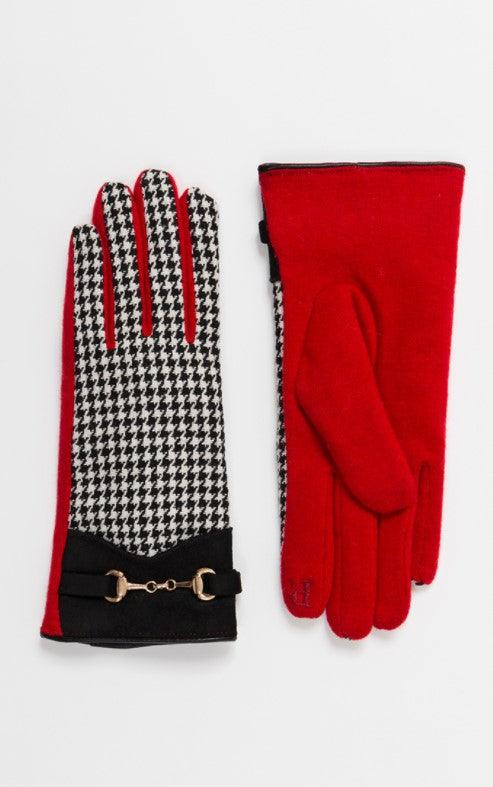 Houndstooth Glove with Gold Chain
