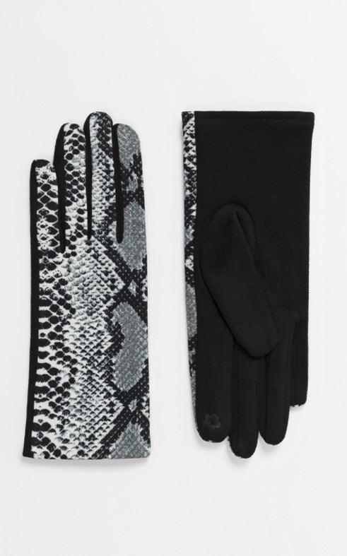 Grey snake print gloves