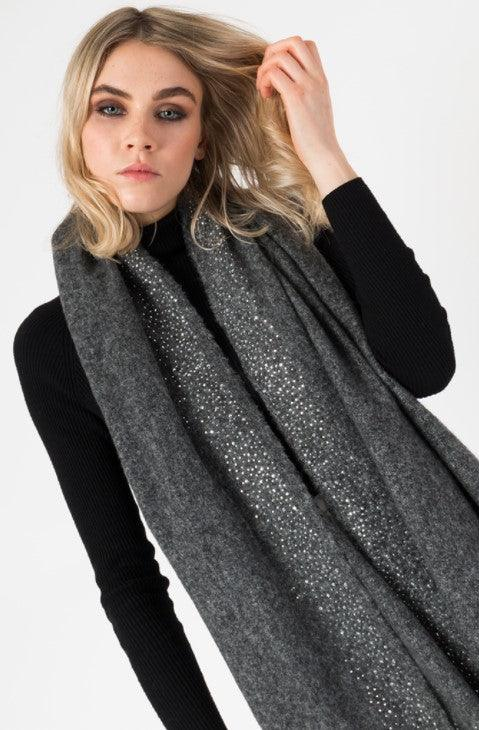 Warm blanket scarf with diamante studded border - Charcoal