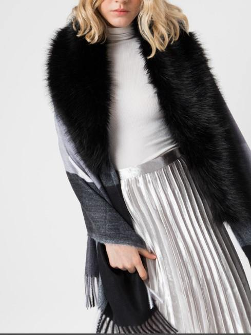 Charcoal Siler Grey Faux Fur Collar Scarf