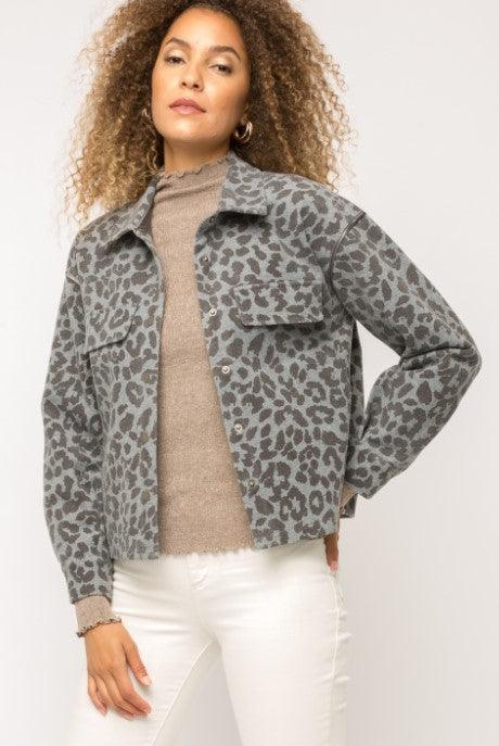 Mystree Leopard Jacket - Blue Grey