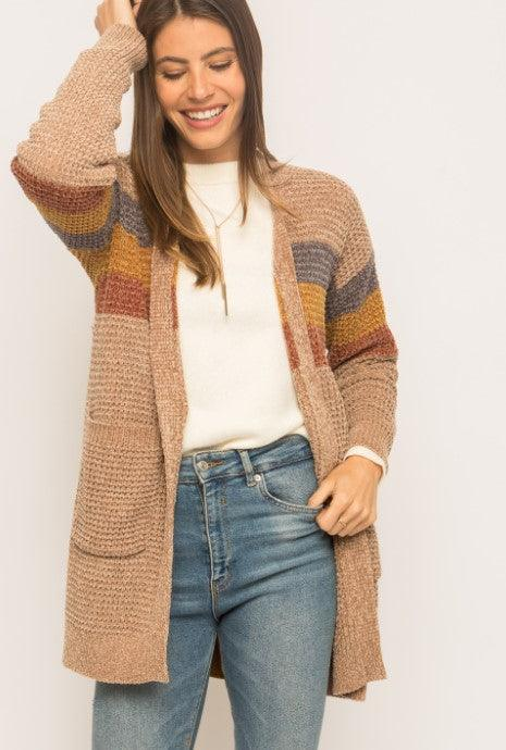 Mystree Color Block Open Cardi - Mocha Mix