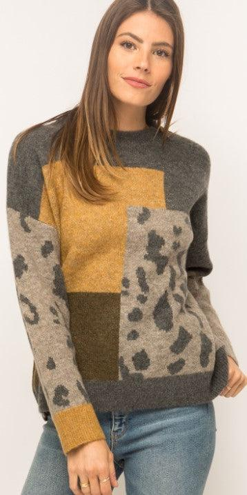 Mystree Leopard Patchwork Pullover - Charcoal Mix