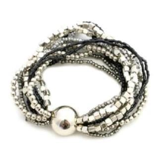Black & Silver Stretchy Multi Strand Bracelet