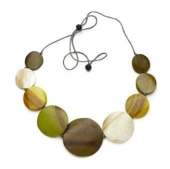 Green Graduated Wooden Disc Necklace