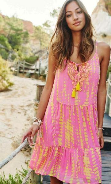 Esqualo beach dress - tie dye pink & yellow