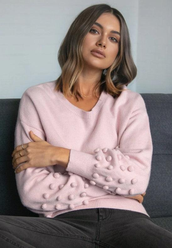 Madison the Label Sorrento Knit Sweater- Dusty Pink