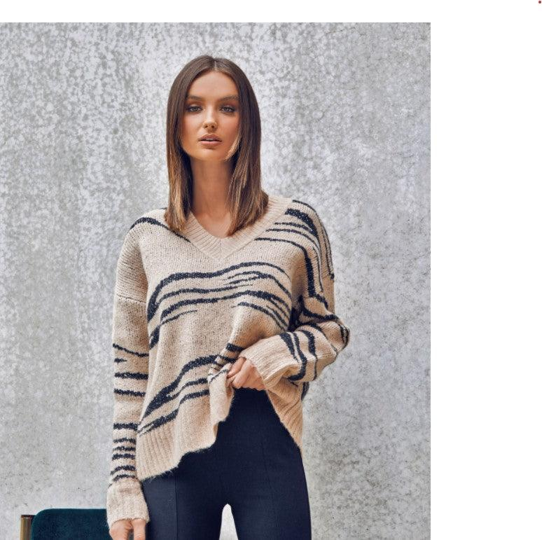Madison the Label Bexley Beige Zebra Knit Sweater