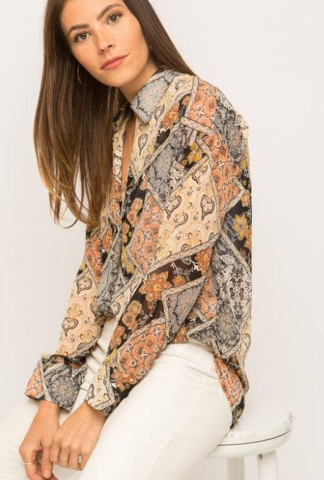 Mystree Vintage inspired scarf print tunic shirt