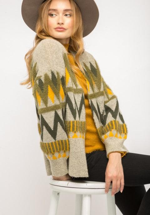 Mystree Chevron sweater open cardigan - light grey mix