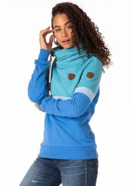 Wanakome Shana Terry Color Block Hoodie - Biscay Bay/Baby Blue Jay