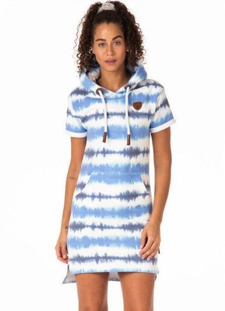 Wanakome Rebekka Tie Dye Hoodie Dress - Indigo/Ink