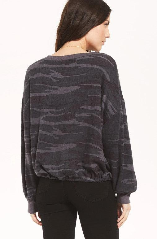 Z Supply Sayde camo crew pullover - charcoal