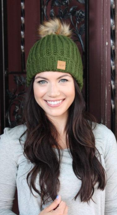 Green fleece lined slouchy knit hat with pom accent