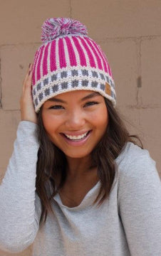 Pink fleece lined knit hat with pom accent