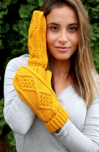 Mustard mittens with fleece lining