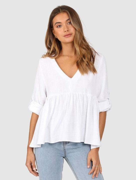 Lost in Lunar Fluer Top - White