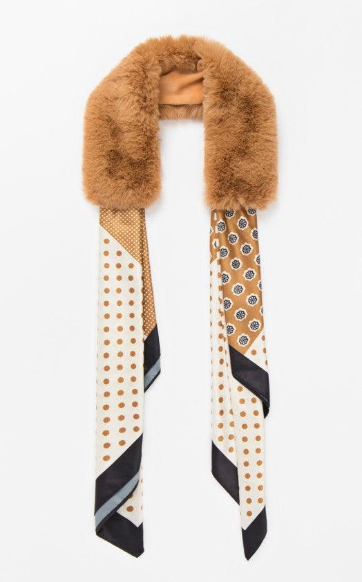 Janette Scarf with Faux Fur Collar - tan