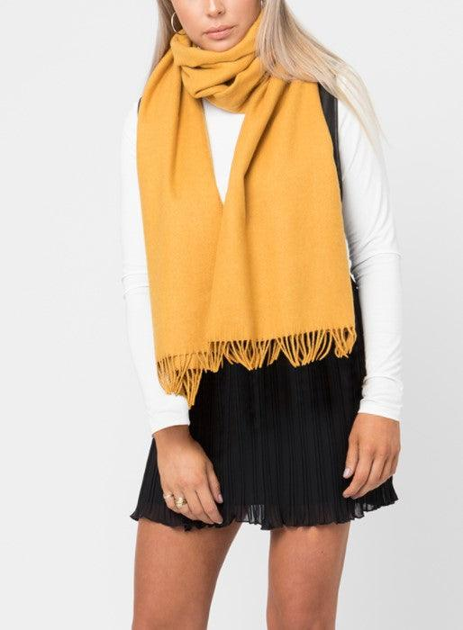 Emmarie Fringed Scarf - yellow