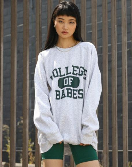 "Brunette the label ""COLLEGE OF BABES"" Big Sister Crew Neck Sweatshirt 