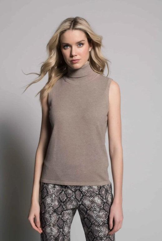 Picadilly Turtle Neck Tank - Coffee Bean