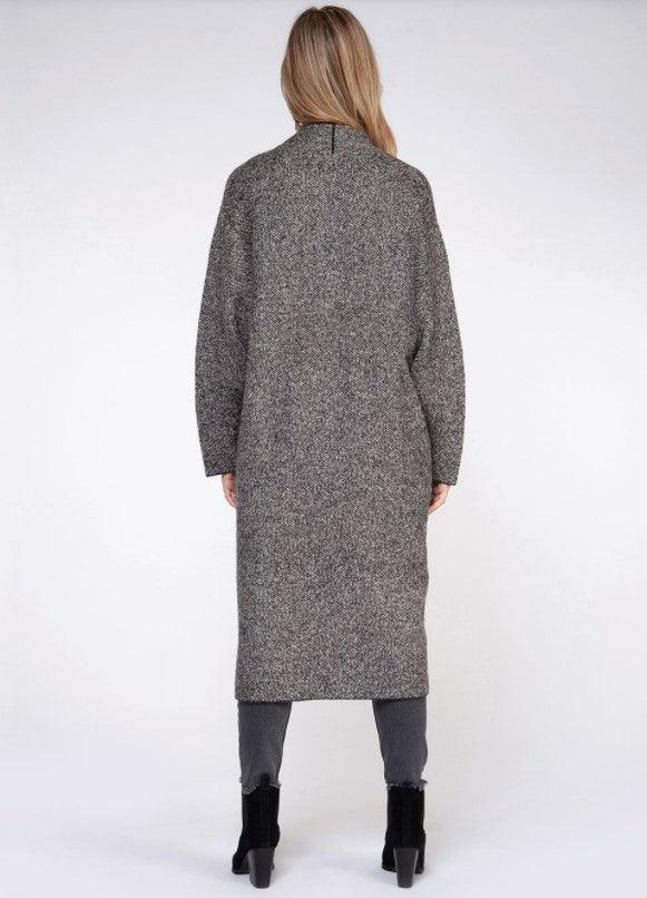 Dex long sleeve sweater cardigan with pockets - grey tweed