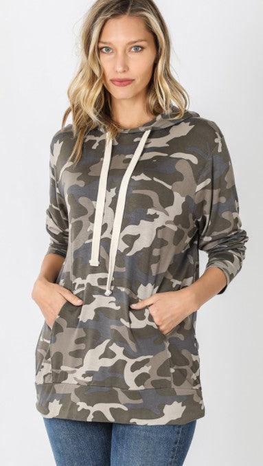 Dusty army camo hoodies with kangaroo pocket