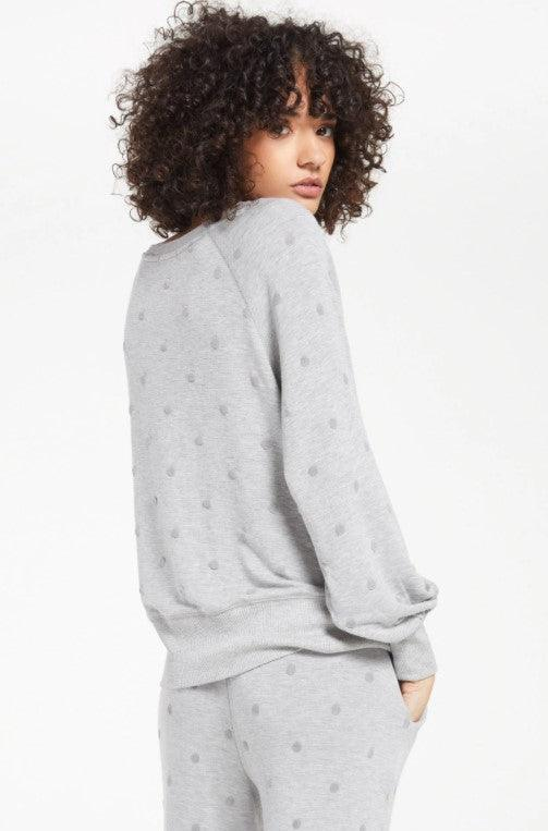Z Supply Brook Dot Pullover - heather grey