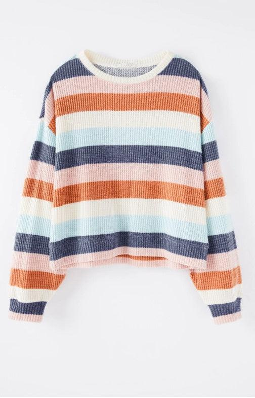 Z Supply Mercer Stripe Thermal Top - washed Navy