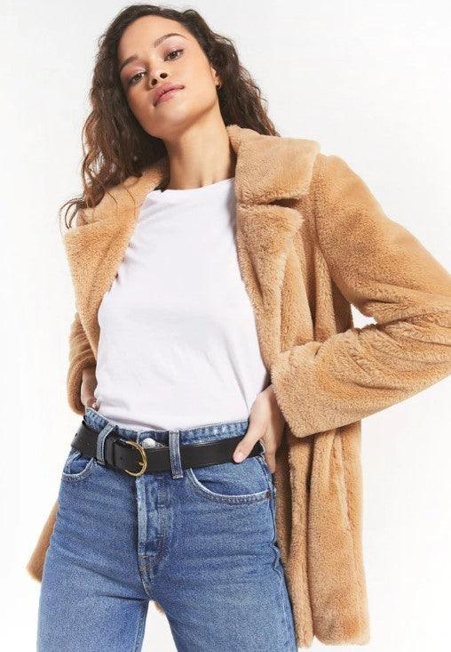 Z Supply Carmen Fur Coat - Camel