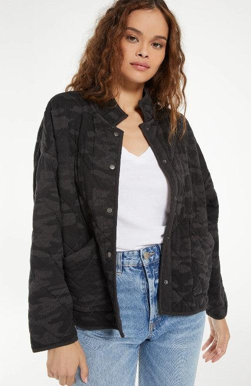 Z Supply Maya Camo Quilted Jacket - Camo Dark Charcoal