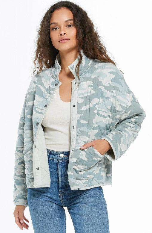 Z Supply Maya Camo Quilted Jacket - Camo Dusty Sage