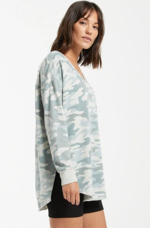 Z Supply Camo V-Neck Weekender - Dusty Sage
