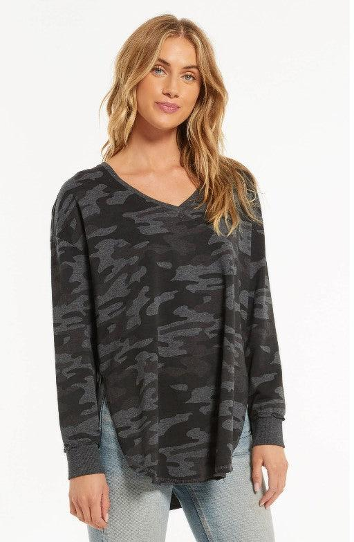 Z Supply Camo V-Neck Weekender - Dark Charcoal