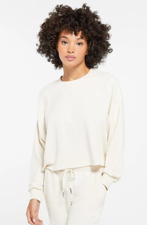 Z Supply Izzy loop terry pullover - bone