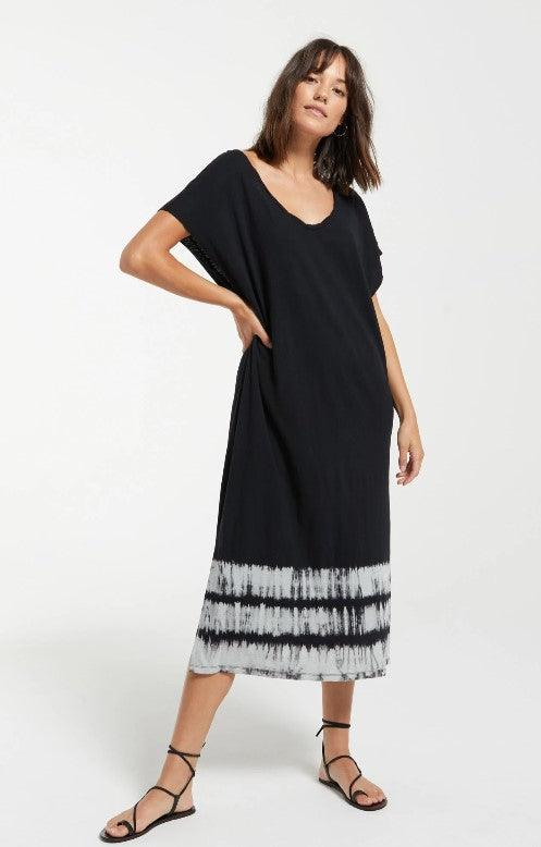 Z Supply Eden Stripe Tie Dye Dress - black