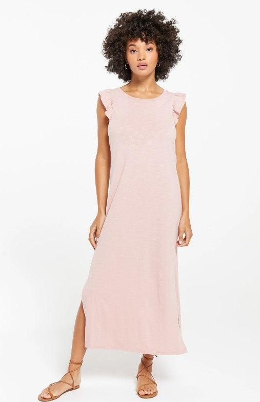 Z Supply Blakely Slub Ruffle Dress - pink blossom