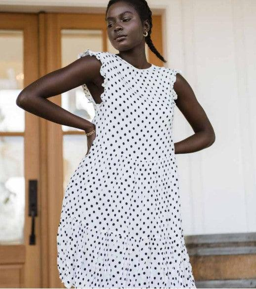 Jackson Rowe Shaka Dress - white/black polka dot