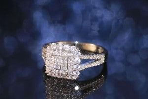 Square shape ring full bling iced out micro pave crystal zircon