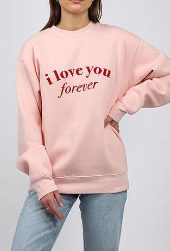 "Brunette ""I Love You Forever"" Crew Sweatshirt - Cotton Candy (Red)"