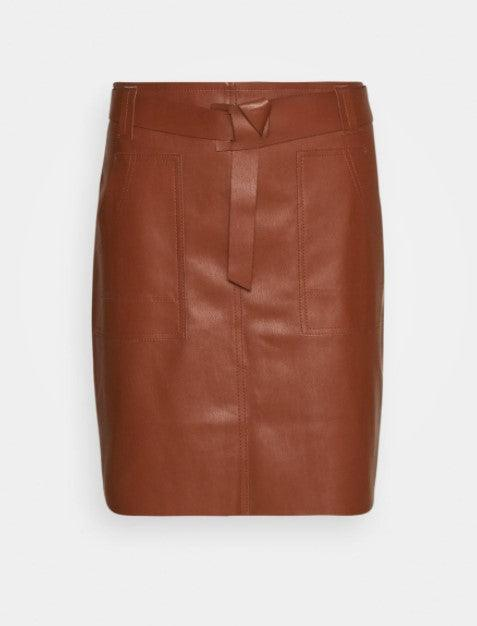Esqualo PU skirt with designer waistband brown