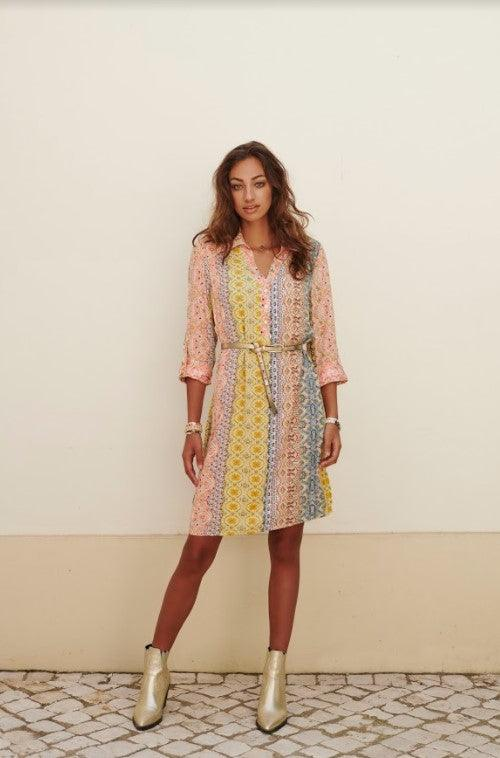 Esqualo collar dress with tab sleeves and lurex - multi
