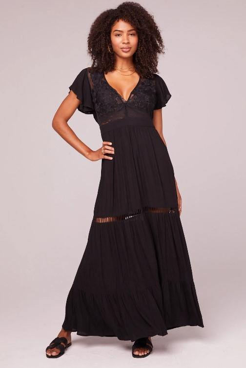 B.O.G. ALL YOU NEED IS LOVE BLACK MAXI DRESS