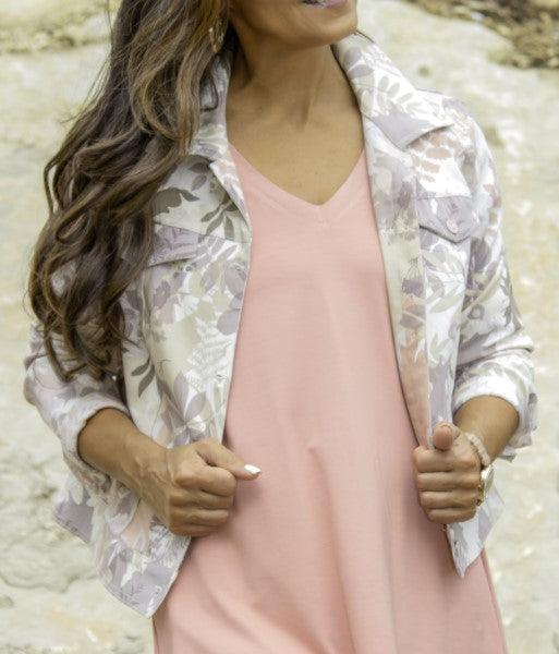 Pure Essence button up jacket with pockets - blush forest