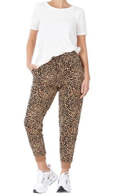 French Terry Leopard print joggers - camel