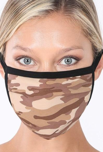 Desert camo washable cotton mask